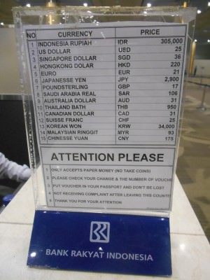 currencies to pay for indonesian visa
