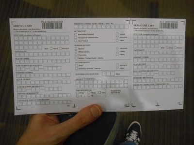 The main part of the visa form for Indonesia in Denpasar, Bali