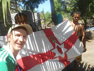 Flying my Northern Ireland flag with the local lads in Beloi