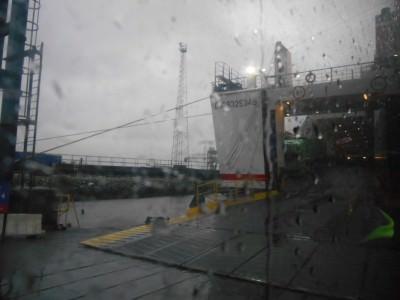 Boarding the ferry in Belfast by bus.