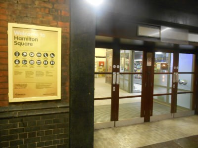 Arrival at Hamilton Square train station in Liverpool, England.