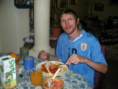 Wearing my Uruguay shirt in Montevideo in 2010, but I'm not sure who will win this year!