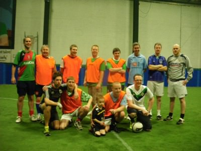 Playing football with friends and family in 2012 on a return visit to my hometown - Bangor, Northern Ireland