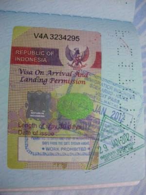 Indonesian Visa on Arrival in Jakarta - 2012