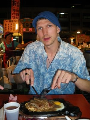 Eating at the Night Market in Xinying.