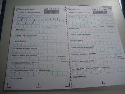Visa forms for Indonesia - I filled them in on the flight to Jakarta