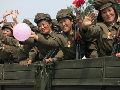 Happy army girls in Pyongyang, North Korea.