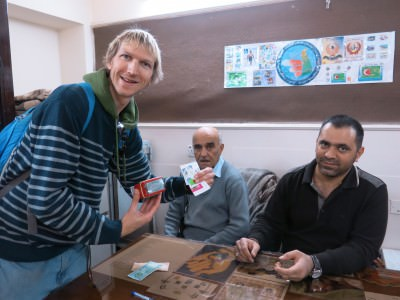 Posting a postcard and buying stamps in Sulaymaniyah, Kurdistan, Iraq.