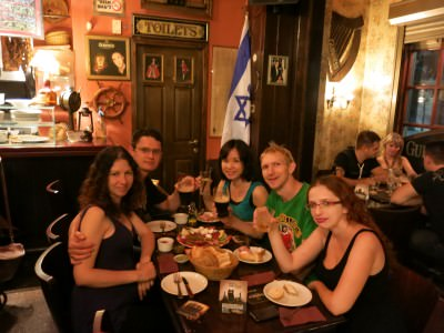 Drinking in Haifa with Alex and Natali.