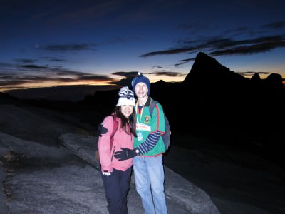 Panny and I at sunrise just before the final ascent to the peak.