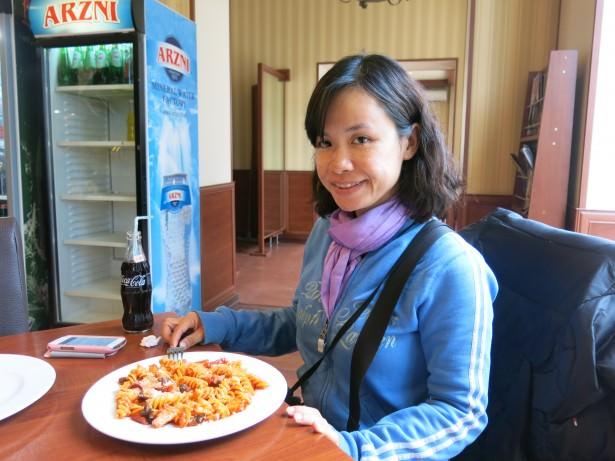 Panny and her pasta in Stepanakert, Nagorno Karabakh.