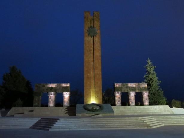 The Obelisk and Memorial in Stepanakert, Nagorno Karabakh.
