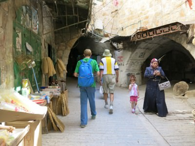 Backpacking my way back out of Palestinian Hebron H1 and into the Israeli controlled part.