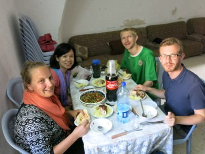 Enjoying lunch in Palestine.