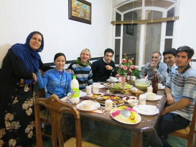 Our table for dinner in Shahr-e Kord.