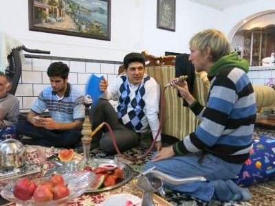 Smoking shisha in Shahr-e Kord, Iran.