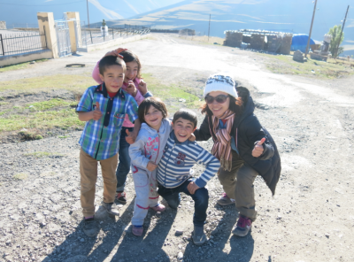 Hanging out with the kids in Xinaliq, Azerbaijan.