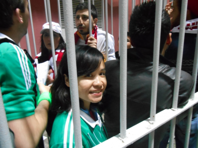Panny going through the turnstiles to her second NI match in a month!