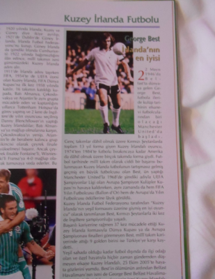 George Best mention in the match programme