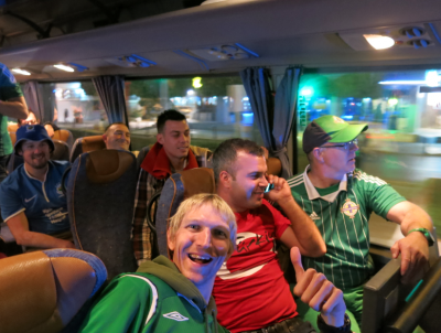 Onboard the party NI bus to the stadium - all 16 of us...