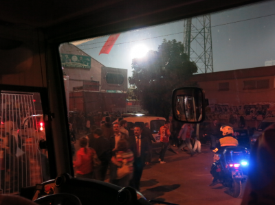 Arrival at the stadium in Adana, Turkey