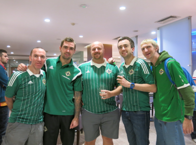 Moby, Gary, Toddy and I meet up with NI player Jonny Steele post match