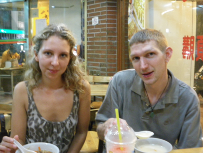 Estonian backpacker Natalja and I in a Local restaurant in Xinying, Taiwan