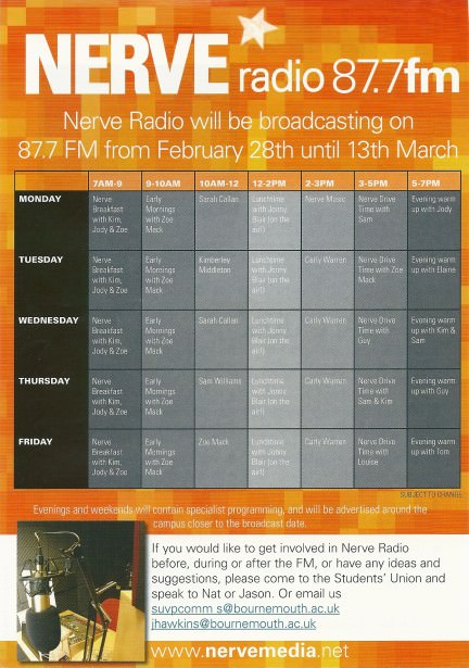 The Nerve FM schedule for 2005, not including the extra weekend shows I did.