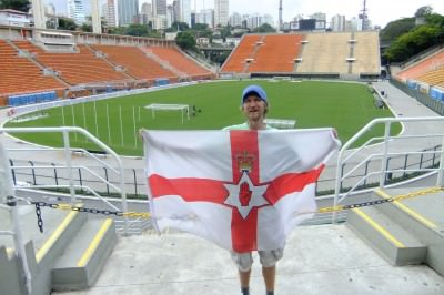 At one of the football stadiums in Sao Paulo, Brazil