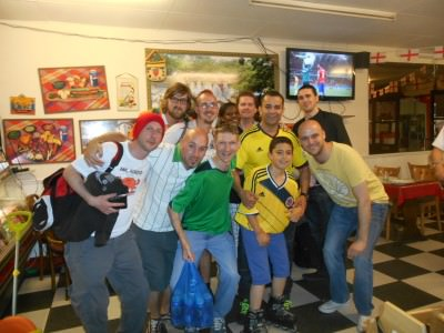 Watching highlights of the Chile v. Australia match with my mates on a pub crawl of London!
