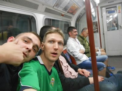 On the tube on route to the Charlie Chaplin pub in Borough.