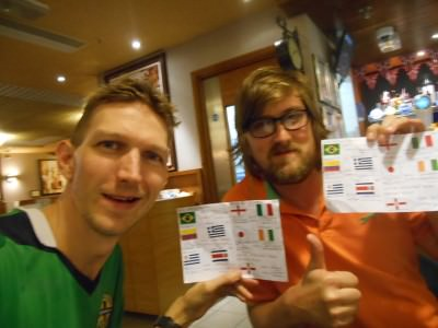 At the Wetherspoons in Terminal 1, Heathrow with my mate James completing our albums and watching Ecuador lose 2-1 to Switzerland.