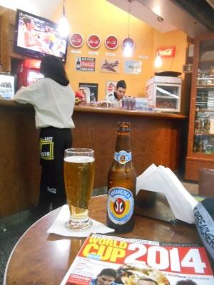 Beer and football in Bar Gate Zero in Rio de Janeiro Airport, Brazil.