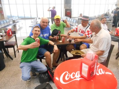 Drinking with some Croatian fans in between flights.