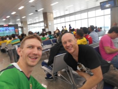 Watching Portugal v. Germant at Rio airport with Michael Church from Larne, Northern Ireland.