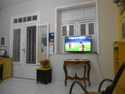 Watching Ghana v. USA - the first of many in the J Sun Hostel in Fortaleza.
