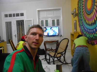 I did a bit of online work while watching the World Cup in the J Sun hostel in Fortaleza.