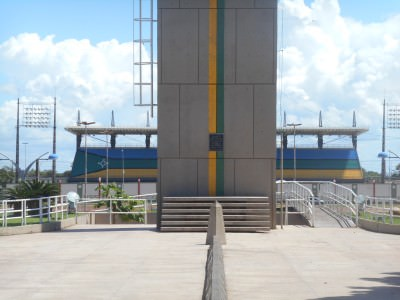 Backpacking in Macapa - the football stadium that sits in both hemispheres!