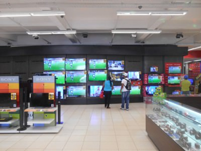 Yes we watched part of Costa Rica v. Italy in a Hi Fi store in Macapa!