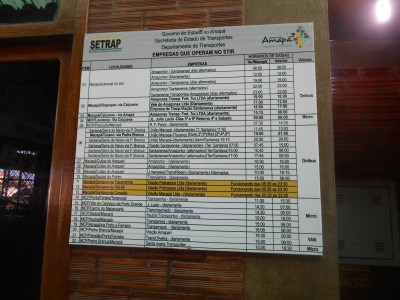 The timetable for the buses at Terminal Rodoviario in Macapa, Brazil.