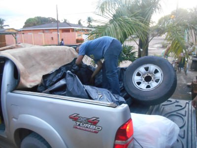 Our bags are put in the back as we leave Macapa.
