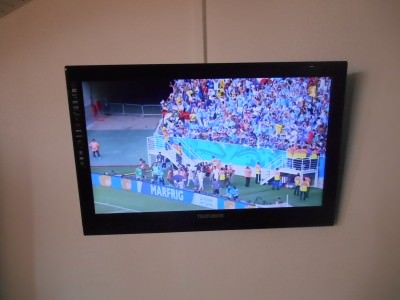 In our hotel room in the town of Kourou, French Guyana we watched Uruguay beat Italy 1-0.