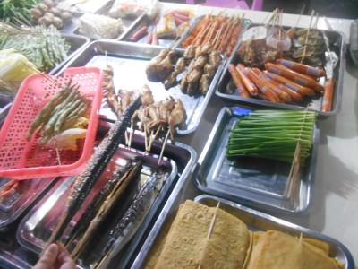Some of the selection at the night barbecue in Da Lang, China.
