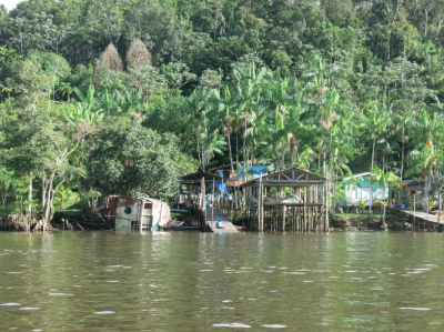 Some huts and part of the rainforest on the French Guyana boat to St Georges de Loyapock.