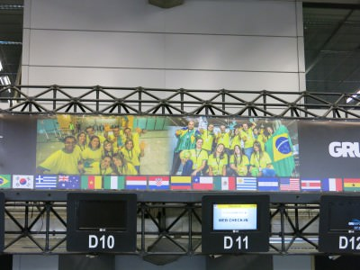 Football fever in Brazil airports for the World Cup - Sao Paulo.