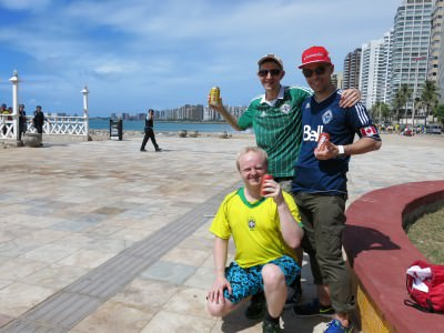 Having a beer with the lads - Lief and Dorian down by Fortaleza beach before the Brazil v. Mexico match.