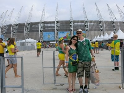 Outside the Castelao stadium for the Brazil v. Mexico match.