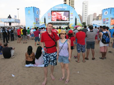 At the Fan Fest on Fortaleza beach during the Chile 2-0 Spain match