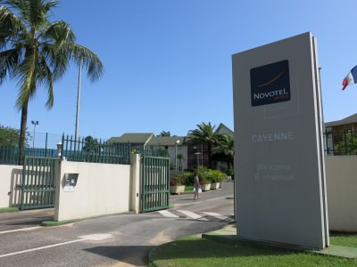The entrance to the Novotel Hotel in Cayenne, on down the road to the right of this photo is the beach for turtle viewing.