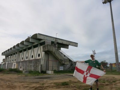 Outside the football stadium in Kourou. Northern Ireland could beat this lot.